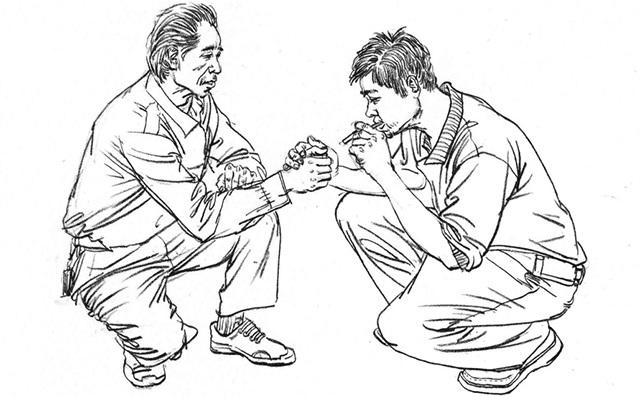 两个蹲姿的速写男人