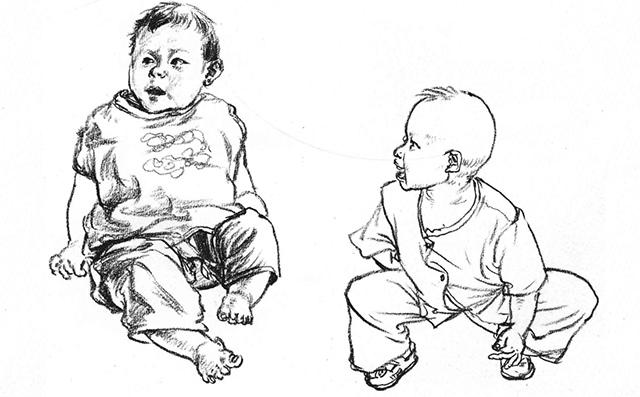 儿童速写刻画