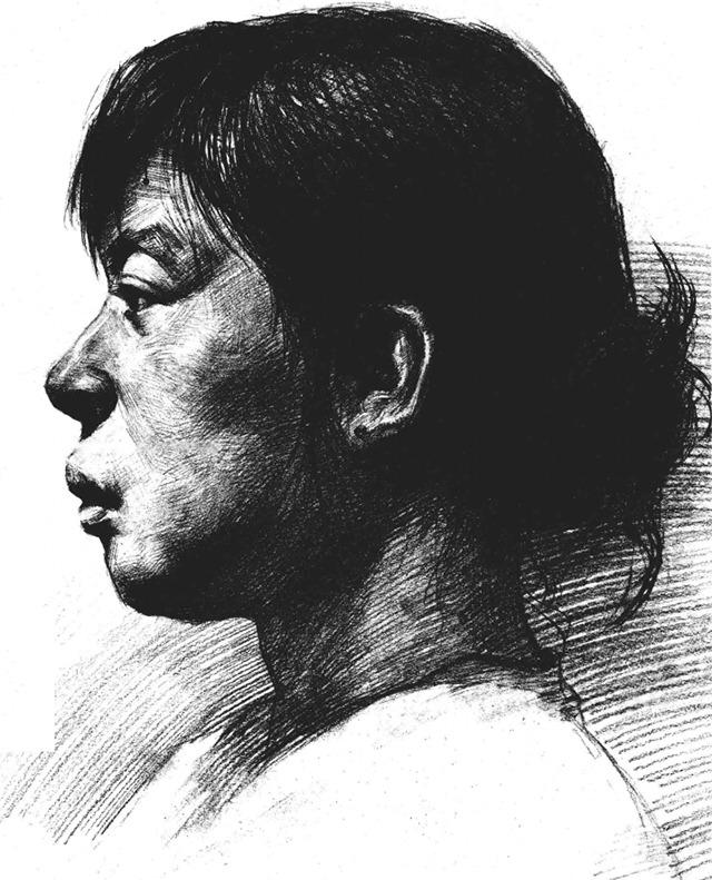 女性人脸素描头像