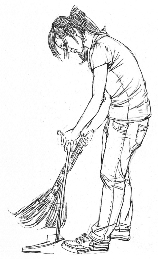 扫地速写女