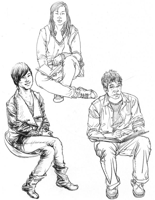 单个人物速写坐姿