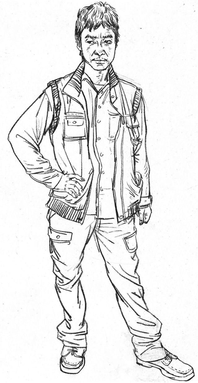 男青年单人速写图