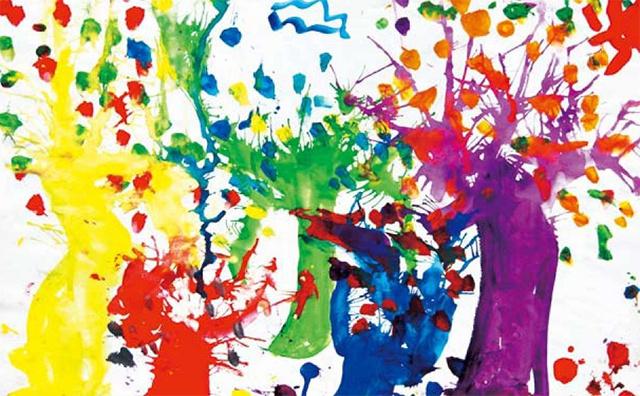 儿童吹画法色彩练习