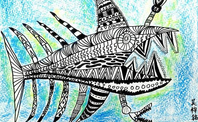 幼儿美术创作活动大鱼作品