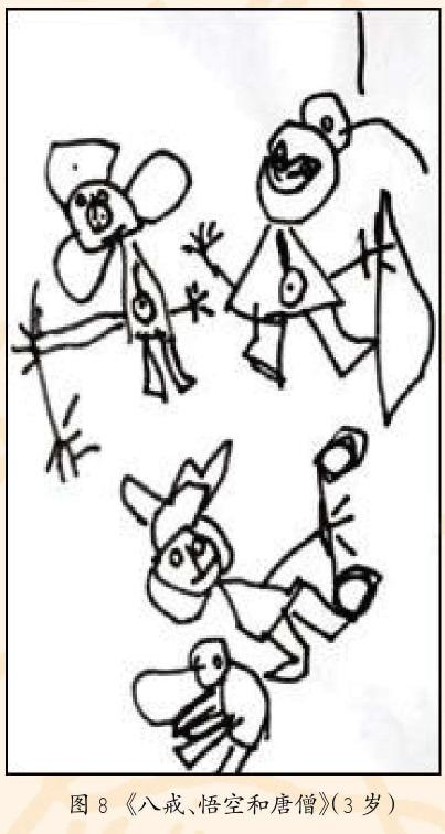 幼儿美术作品图8《八戒、悟空和唐僧》
