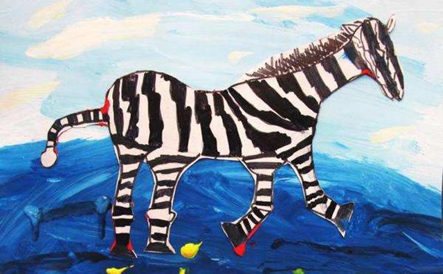 幼儿美术作品-斑马