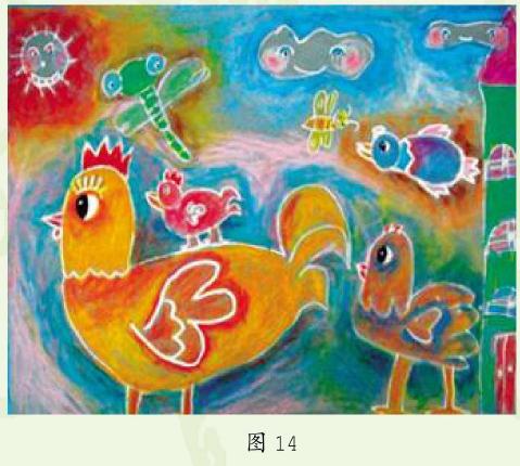 大公鸡幼儿美术作品