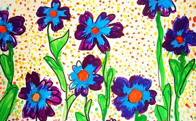 幼儿美术作品-花