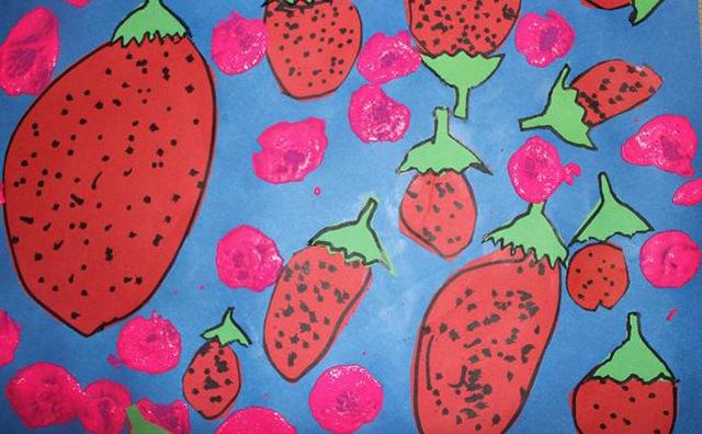 幼儿美术作品-草莓