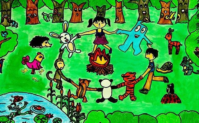 一片树林儿童画