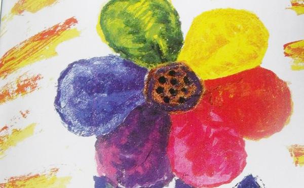 彩虹色的花儿童画