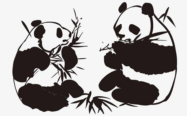 熊猫竹石图