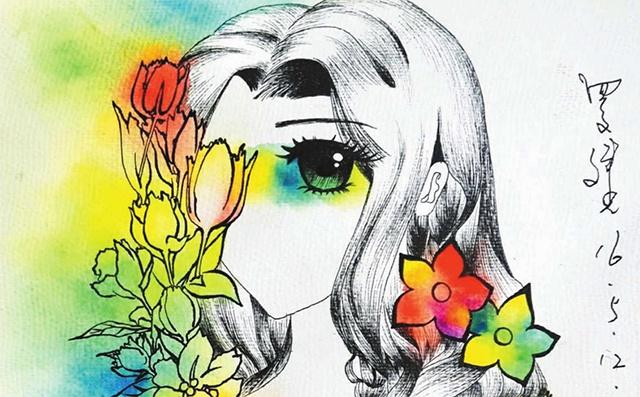 卷发美少女漫画绘画步骤二