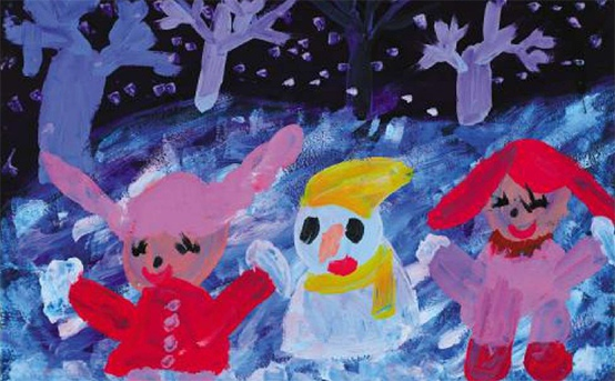 冰雪世界儿童画作品一