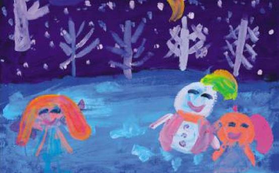 冰雪世界儿童画作品二
