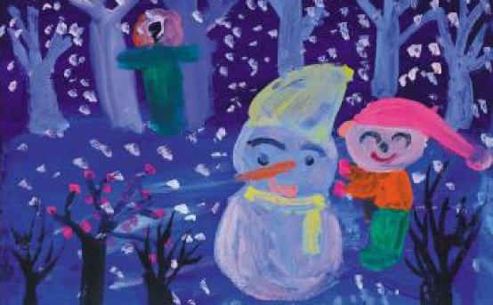冰雪世界儿童画作品三