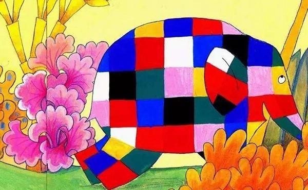 花格子大象艾玛儿童画(1)