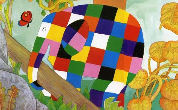 花格子大象艾玛儿童画(2)