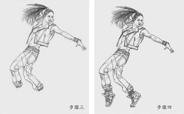动态人物速写的画法三和四