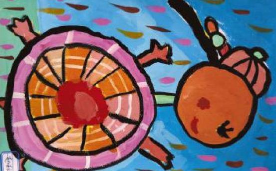 乌龟趣事少儿绘画作品4