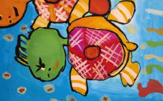 乌龟趣事少儿绘画作品2