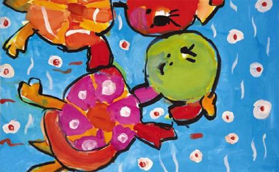 乌龟趣事少儿绘画作品1