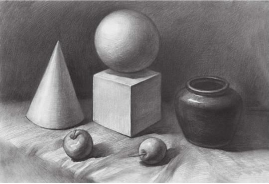 几何体与静物组合的画法步骤四