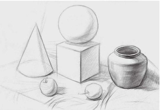 几何体与静物组合的画法步骤二