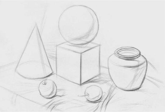几何体与静物组合的画法步骤一