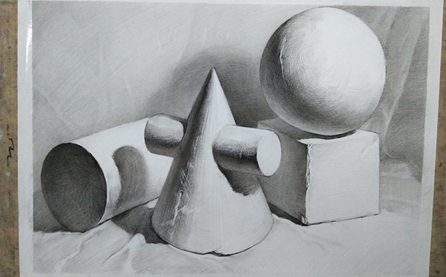 石膏几何体组合写生