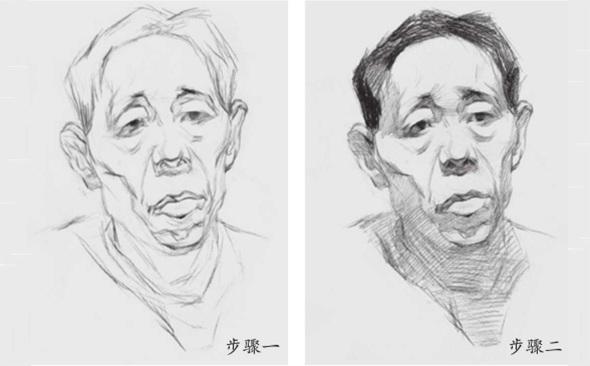 男性老年人素描头像步骤一和二