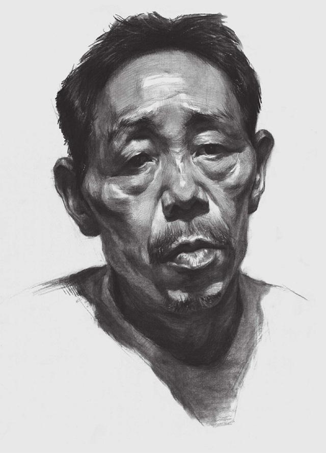 男性老年人素描头像