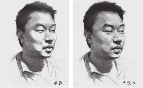 男青年素描头像步骤三和四