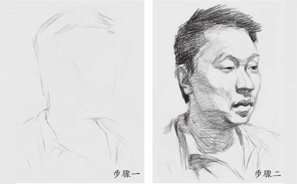 男青年素描头像步骤一和二