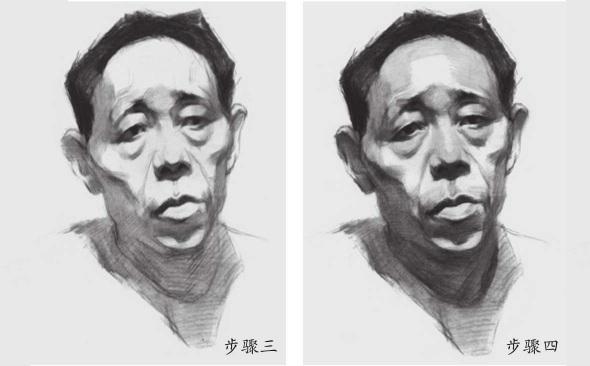 男性老年人素描头像步骤三和四