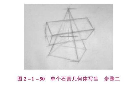 单个石膏几何体写生步骤二