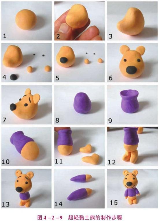 超轻黏土熊的制作步骤