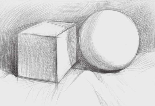 两个石膏几何体组合的画法步骤二