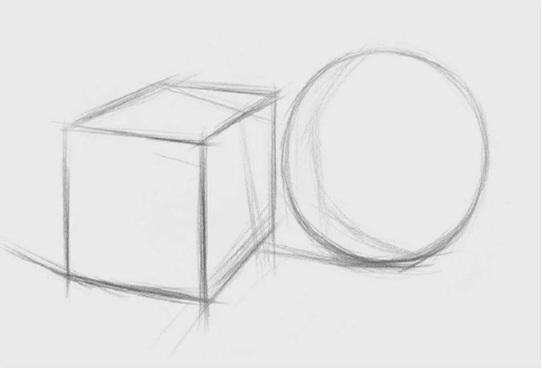 两个石膏几何体组合的画法步骤一