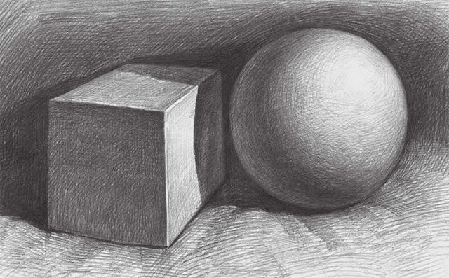 两个石膏几何体组合的画法步骤五
