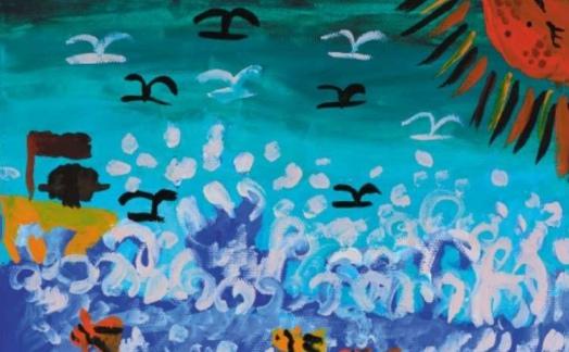 海浪少儿水粉画