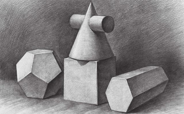 四个几何体的画法步骤完成图