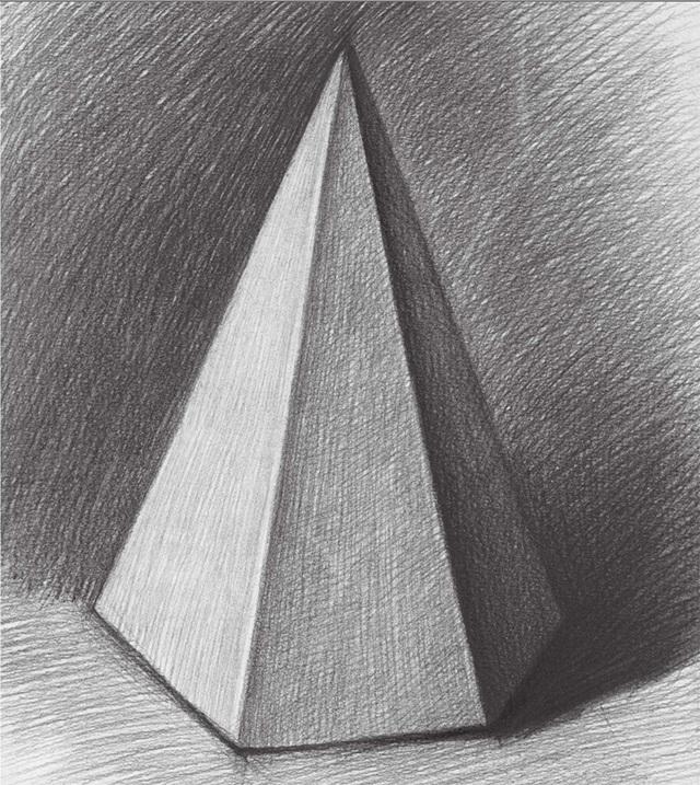 三棱柱素描图片_素描六棱锥体的画法-X美院