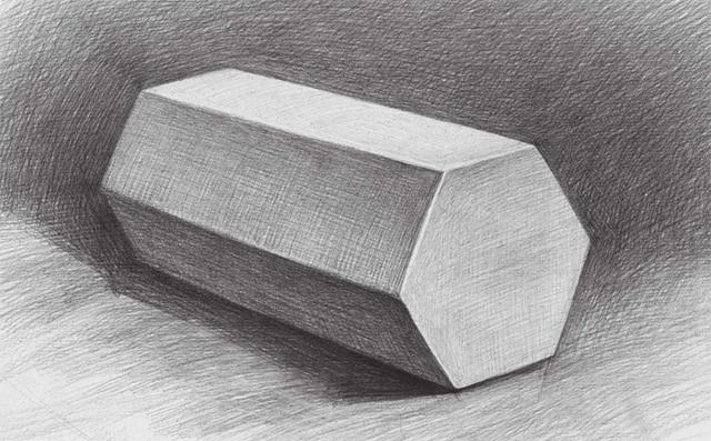 三棱柱素描图片_素描六棱柱体的画法-X美院