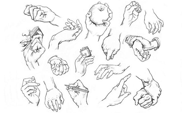 手部速写的画法1