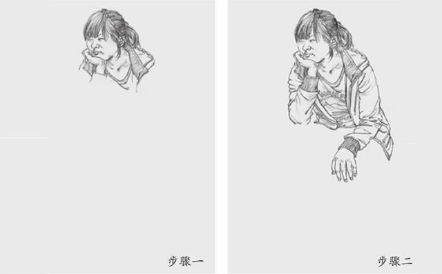 女坐姿速写的画法步骤一和二