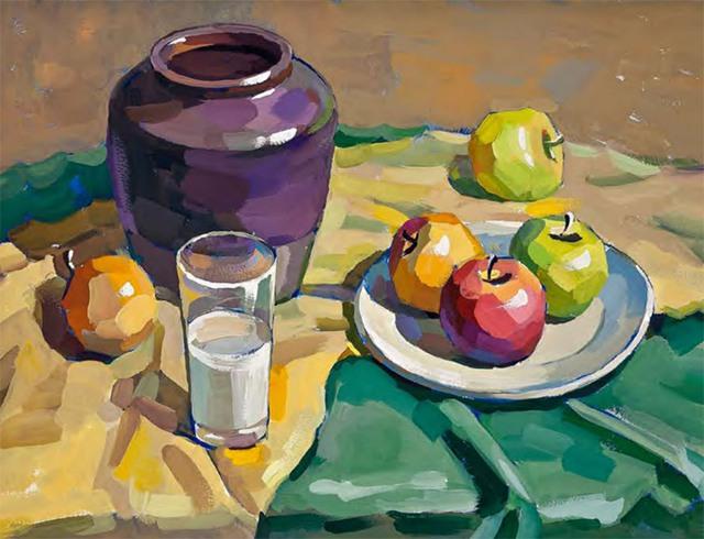 陶罐、白瓷盘、玻璃杯和水果的组合五