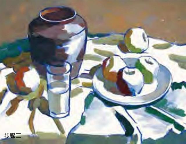 陶罐、白瓷盘、玻璃杯和水果的组合二
