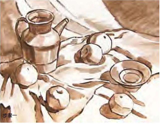 陶罐、土陶碗和水果的组合步骤一