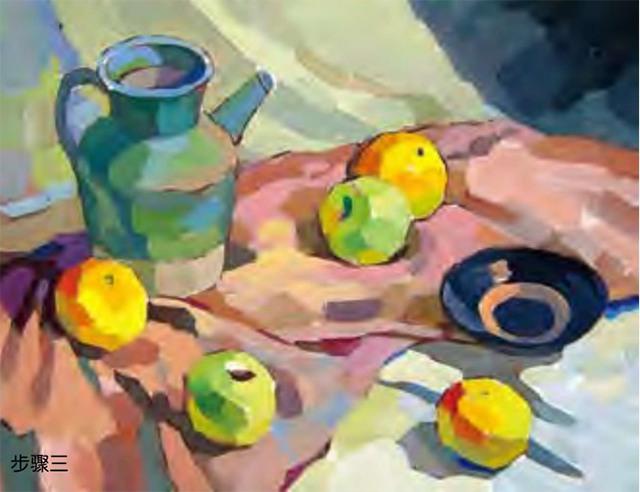 陶罐、土陶碗和水果的组合步骤三